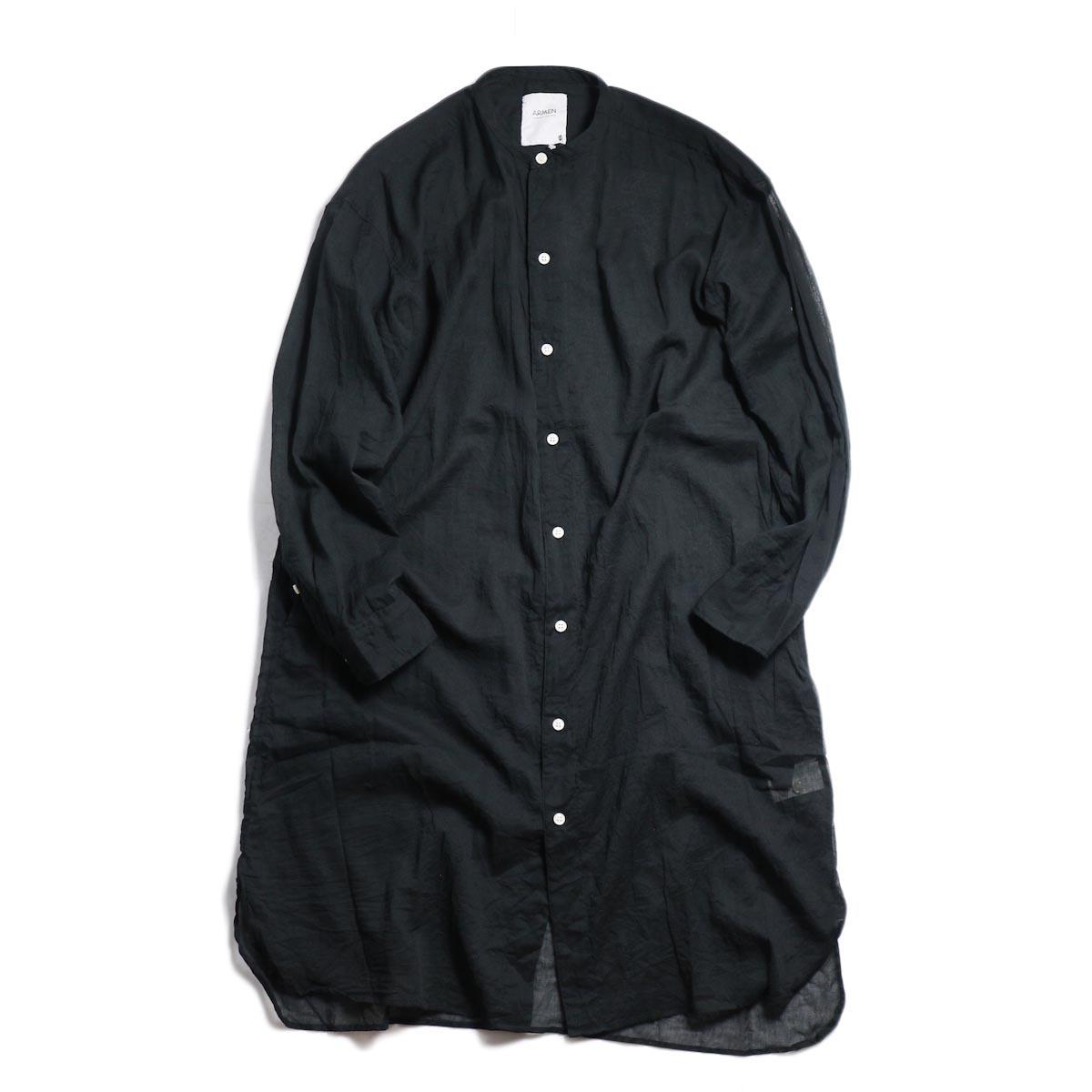 ARMEN / Utility Banded Collar Long Shirt -Black