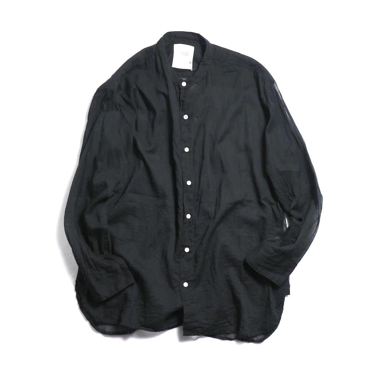 ARMEN / Utility Banded Collar Shirt -Black