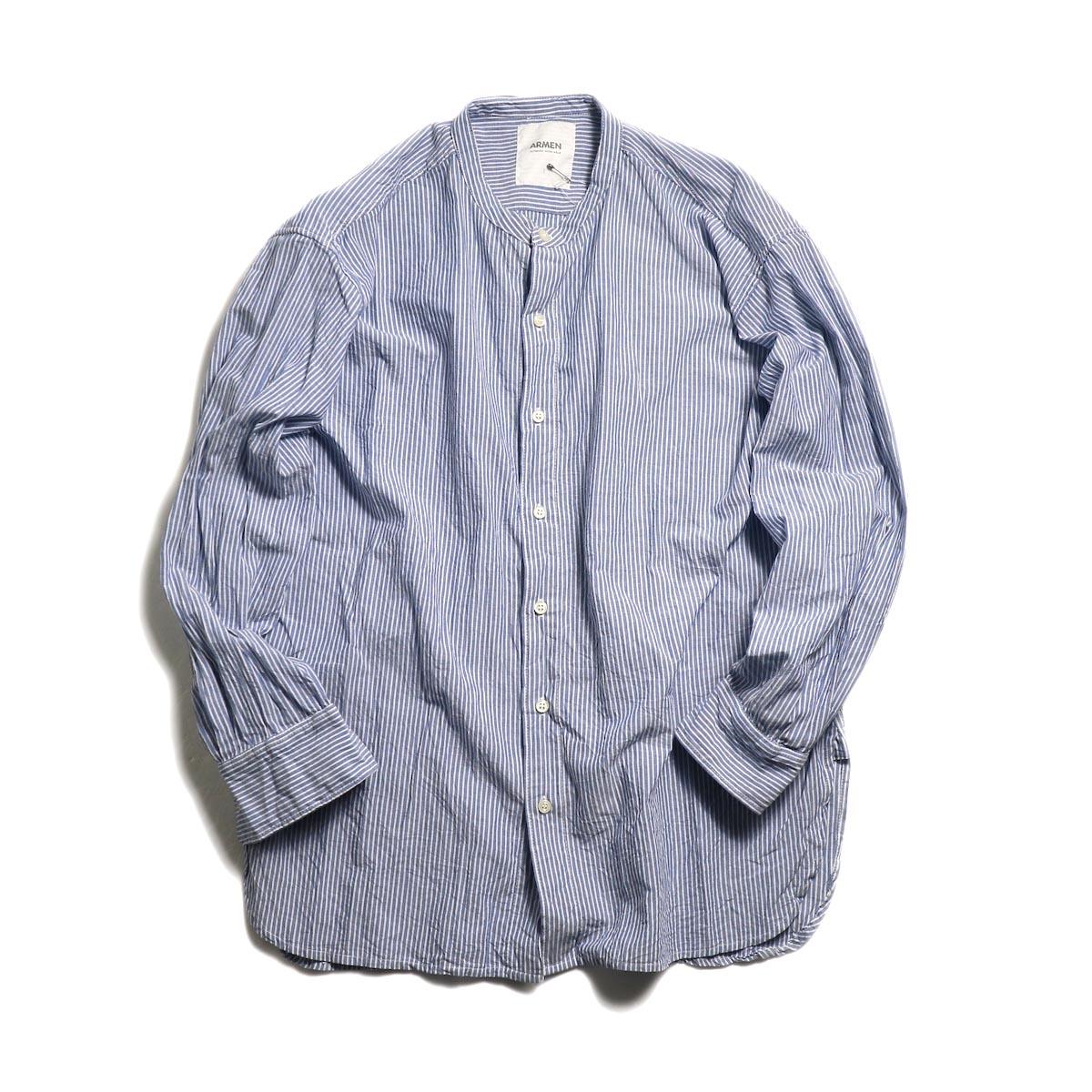 ARMEN / Utility Banded Collar Shirt -Blue Stripe