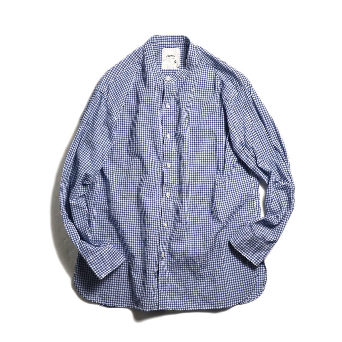 ARMEN / Utility Banded Collar Shirt -Gingham Check