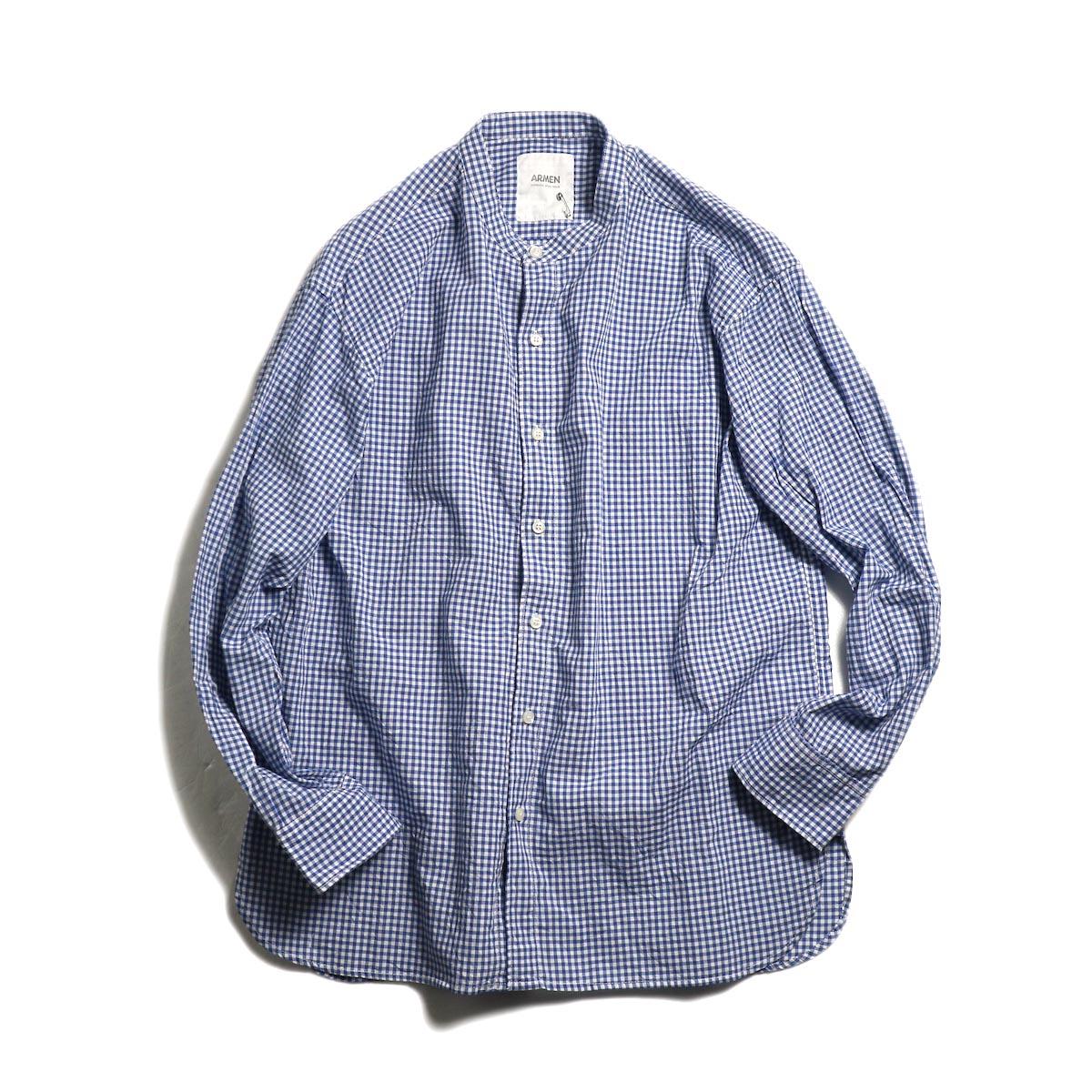 ARMEN / Utility Banded Collar Shirt -Gingham Check