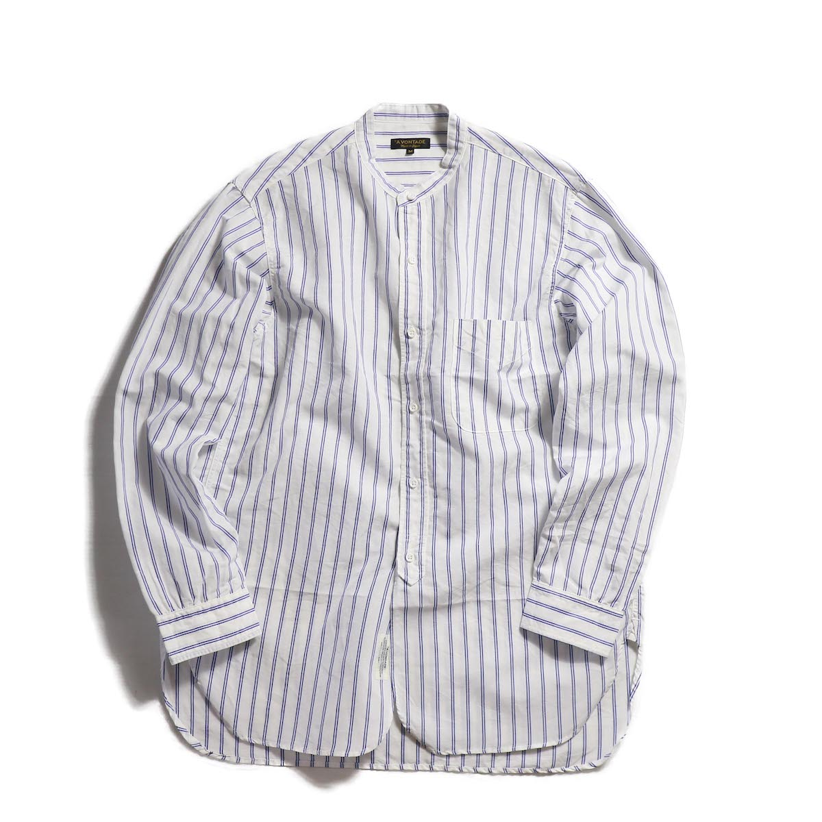 A VONTADE / Banded Collar Shirt -Blue Stripe