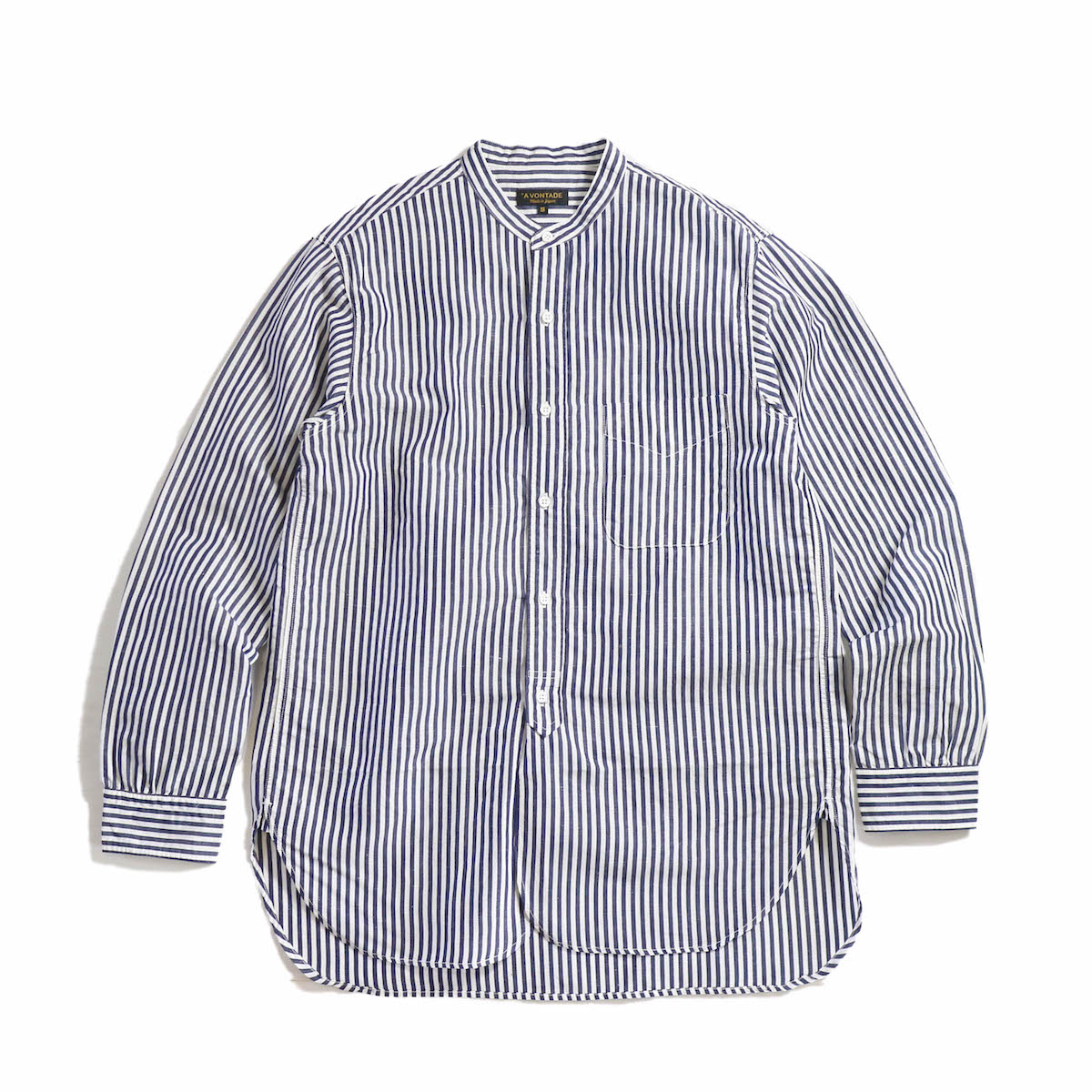 A VONTADE / Banded Collar Shirt -Navy Stripe