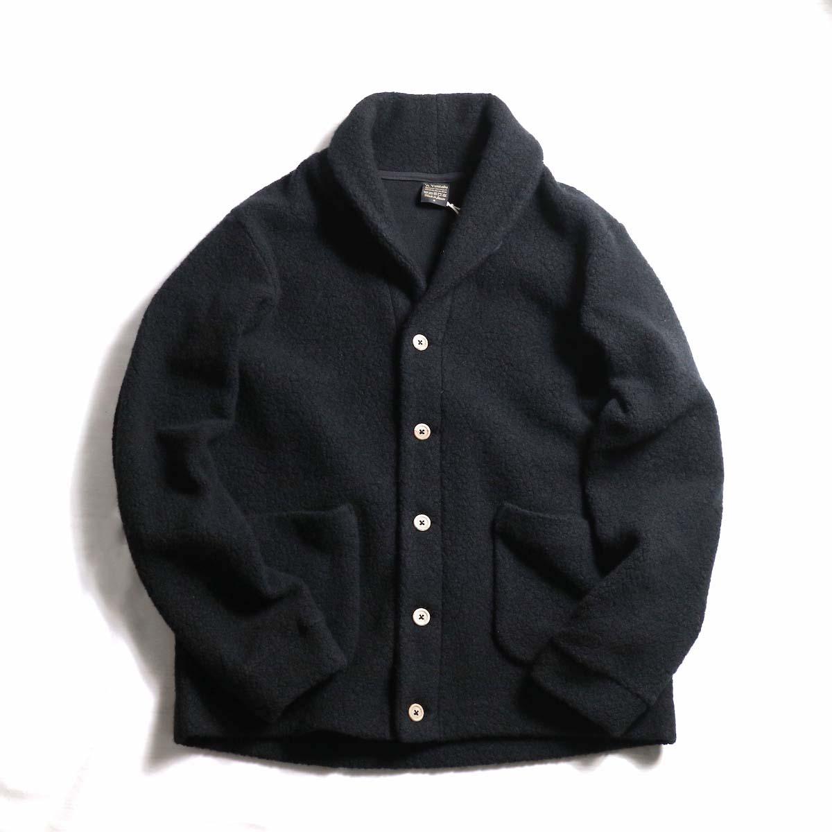 A VONTADE / Wool Pile Shawl Collar Cardigan -Black