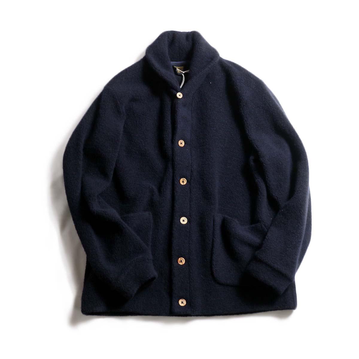 A VONTADE / Wool Pile Shawl Collar Cardigan -Navy