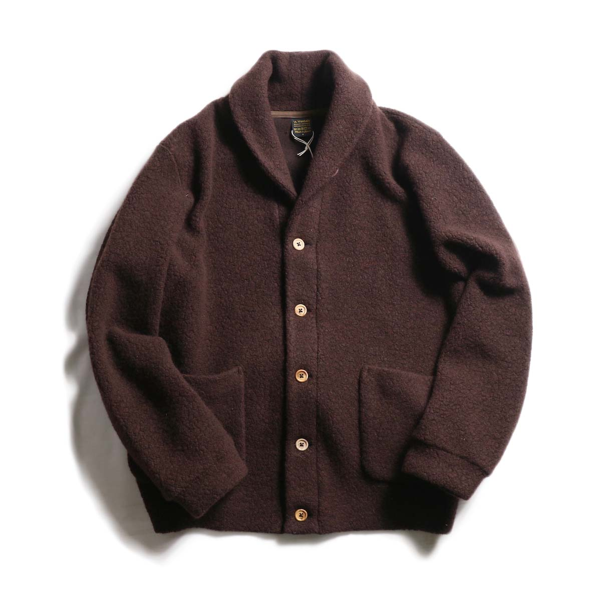 A VONTADE / Wool Pile Shawl Collar Cardigan -Brown