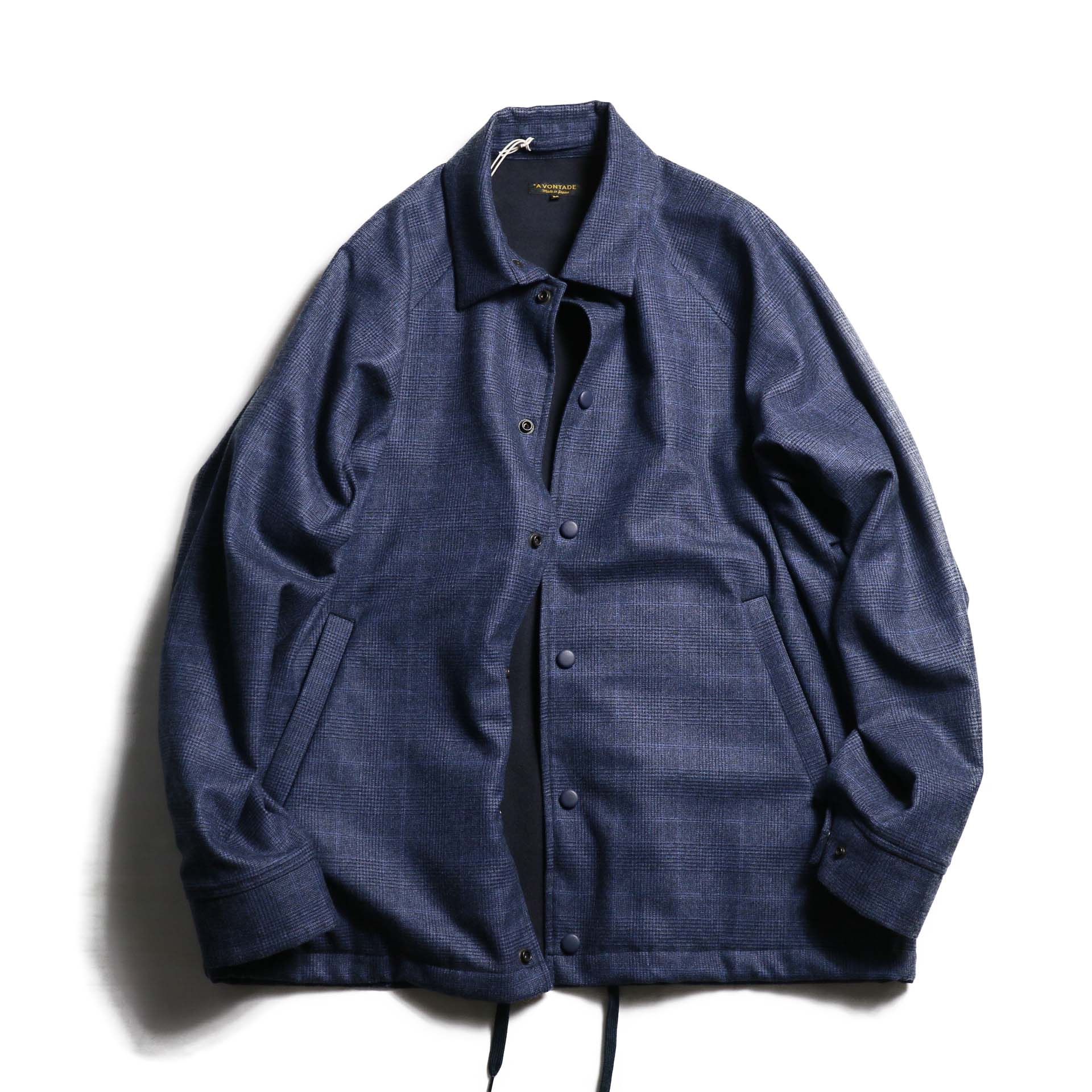 A VONTADE / Wool Coaches Jacket -NAVY GREN CHECK