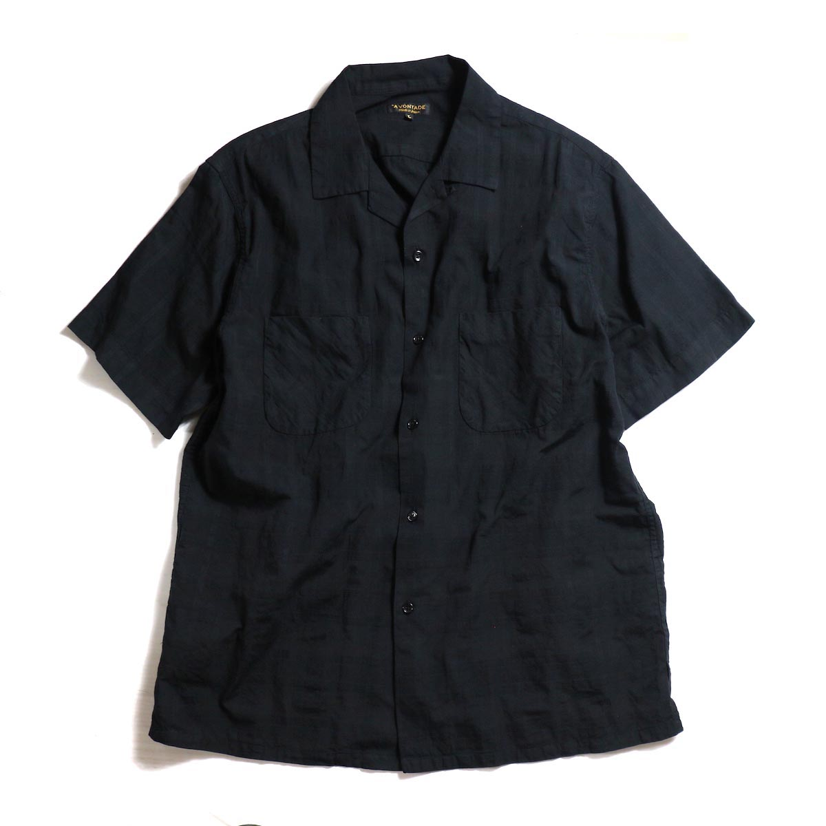 A VONTADE / Dobby Open Shirts S/S -Black