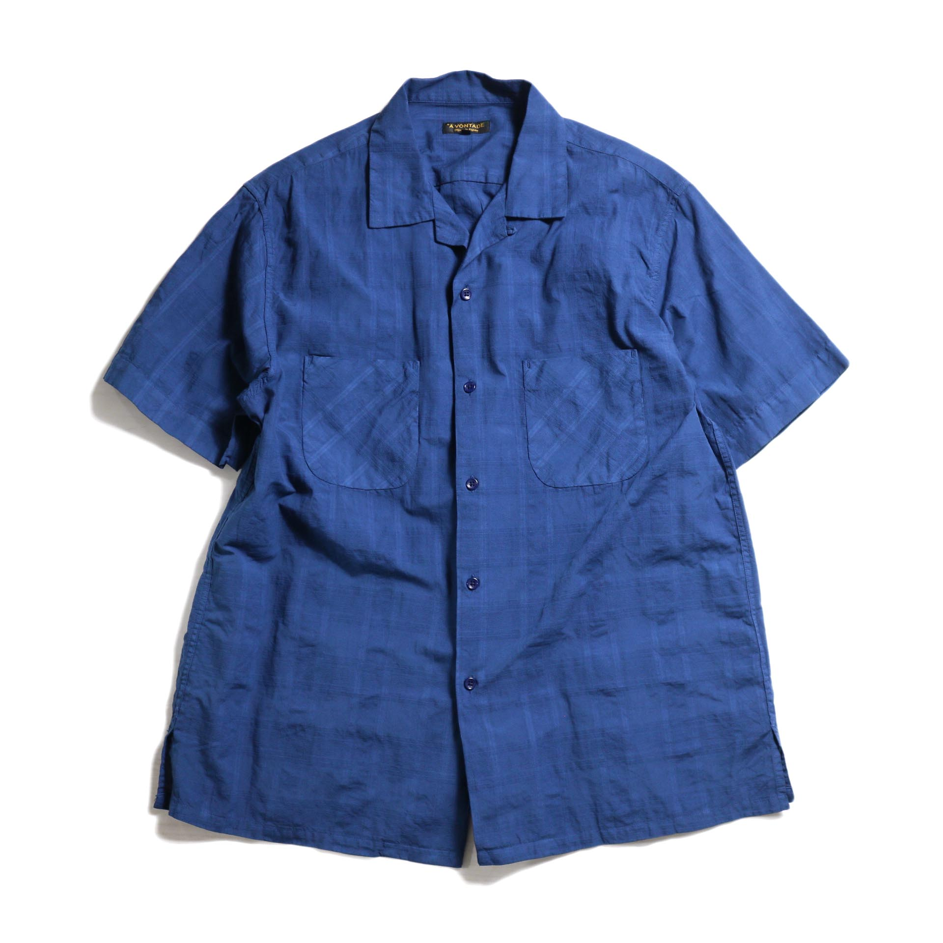 A VONTADE / Dobby Open Shirts S/S -Navy Blue
