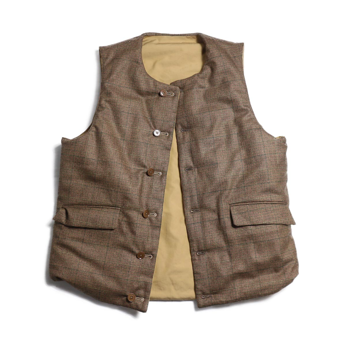 A VONTADE / Reversible Pack VestⅡ -TAN/BROWN GREN CHECK