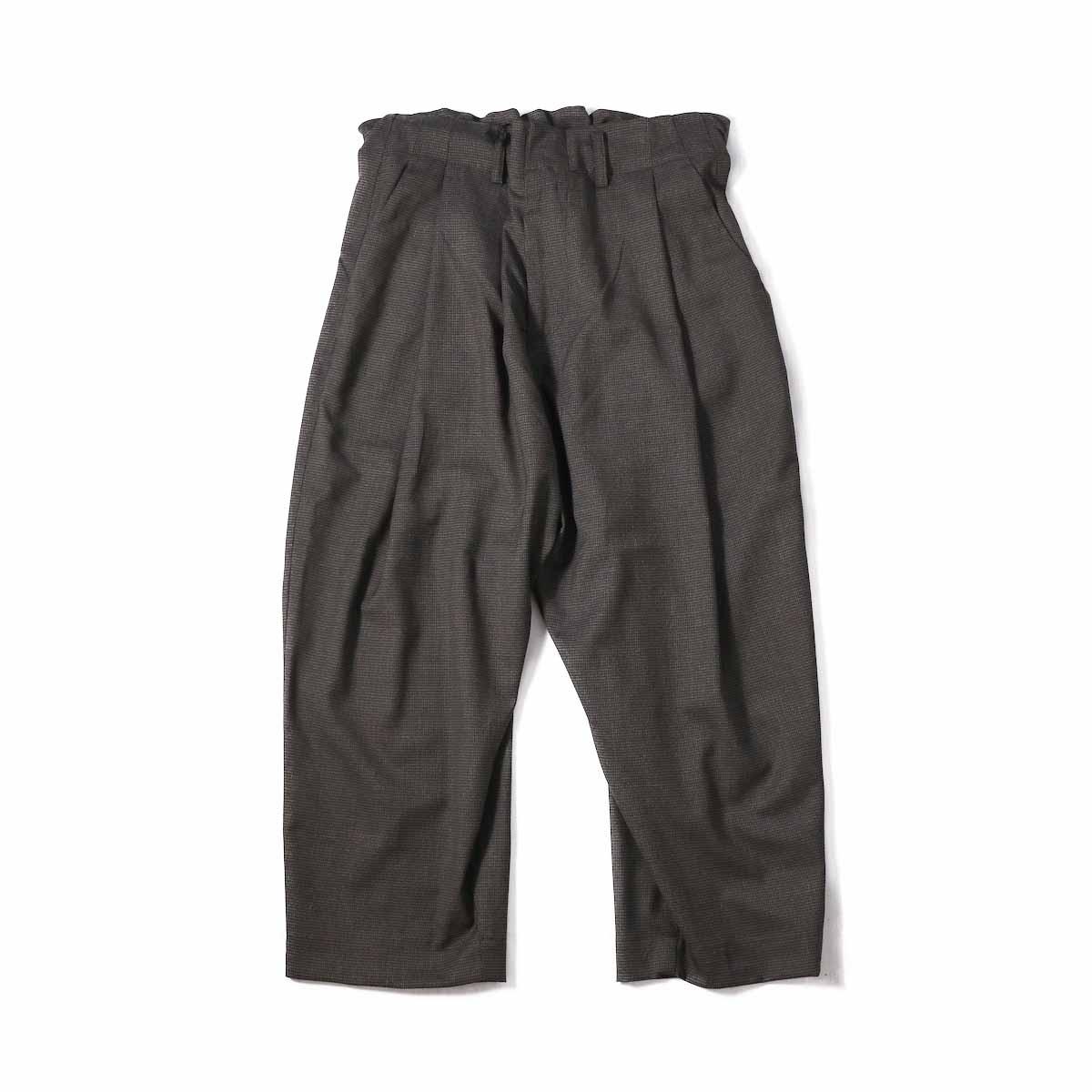 """BASISBROEK / """"Pair"""" Wide Wool Pant -Brown Check"""