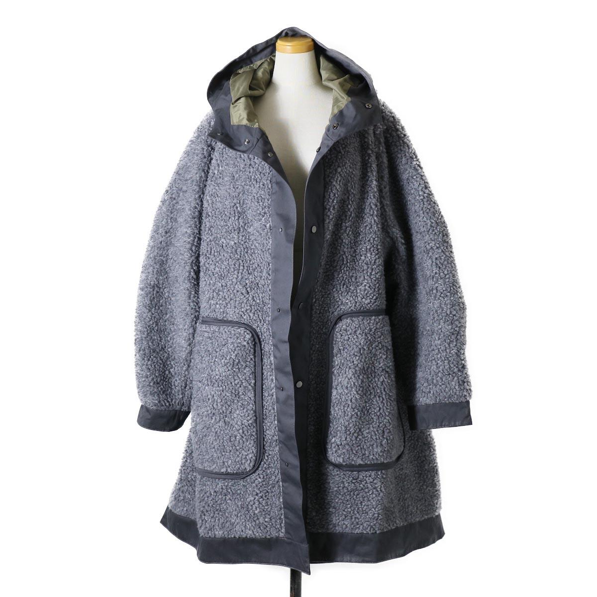 """BASISBROEK / """"Givry"""" Boa Fleece Coat -Gray×Khaki"""