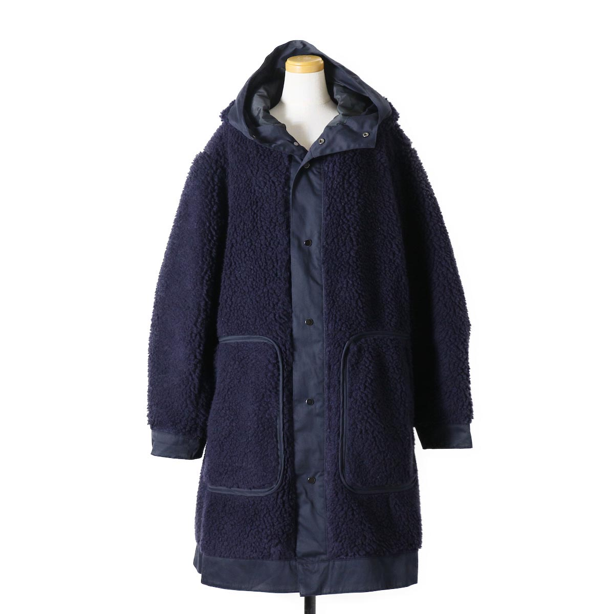 "BASISBROEK / ""Givry"" Boa Fleece Coat -Navy×Navy"