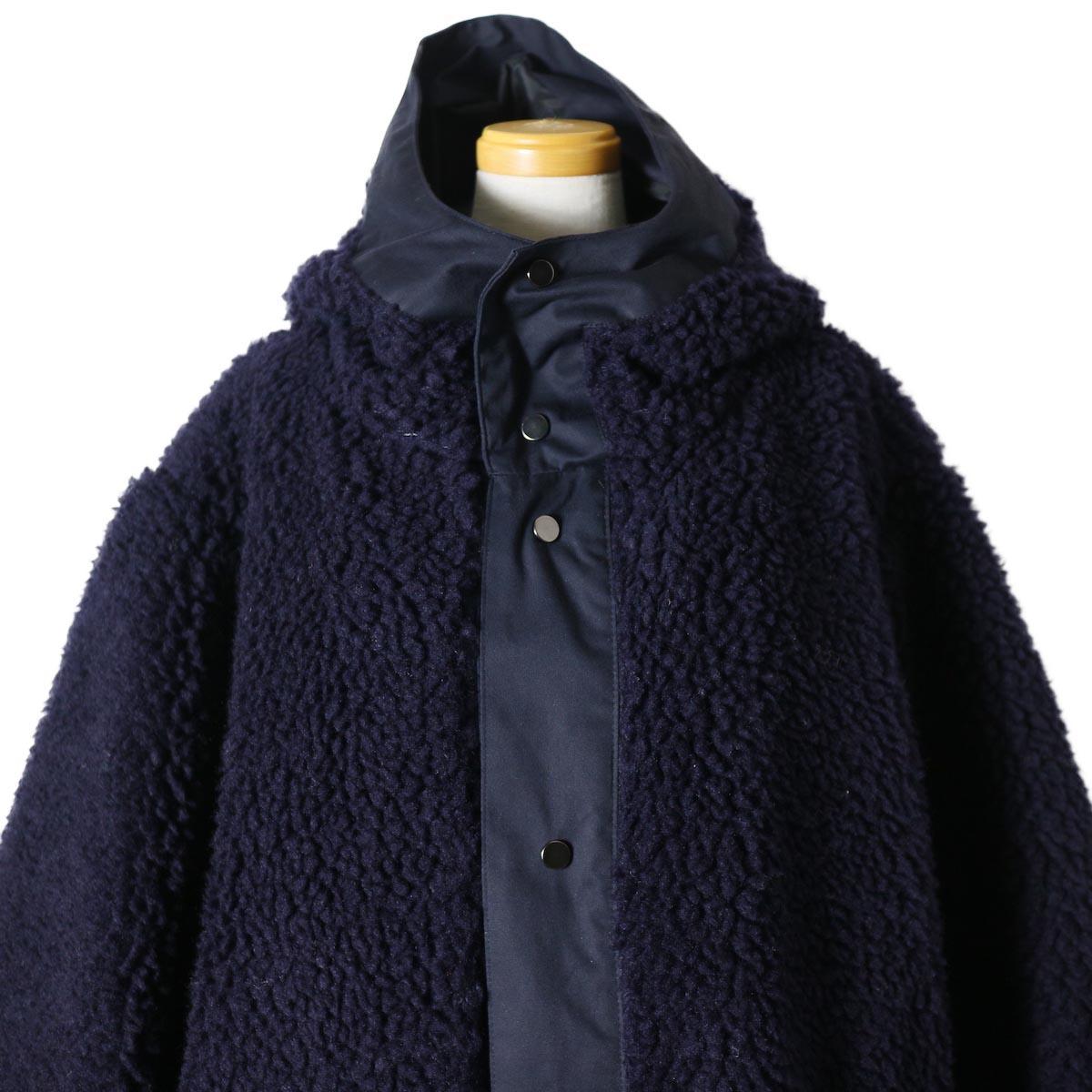 "BASISBROEK / ""Givry"" Boa Fleece Coat -Navy×Navy 首元"