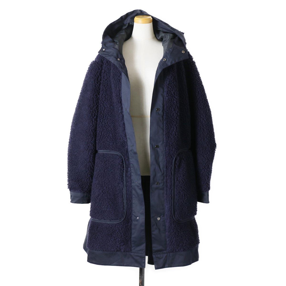 """BASISBROEK / """"Givry"""" Boa Fleece Coat -Navy×Navy 正面(開)"""