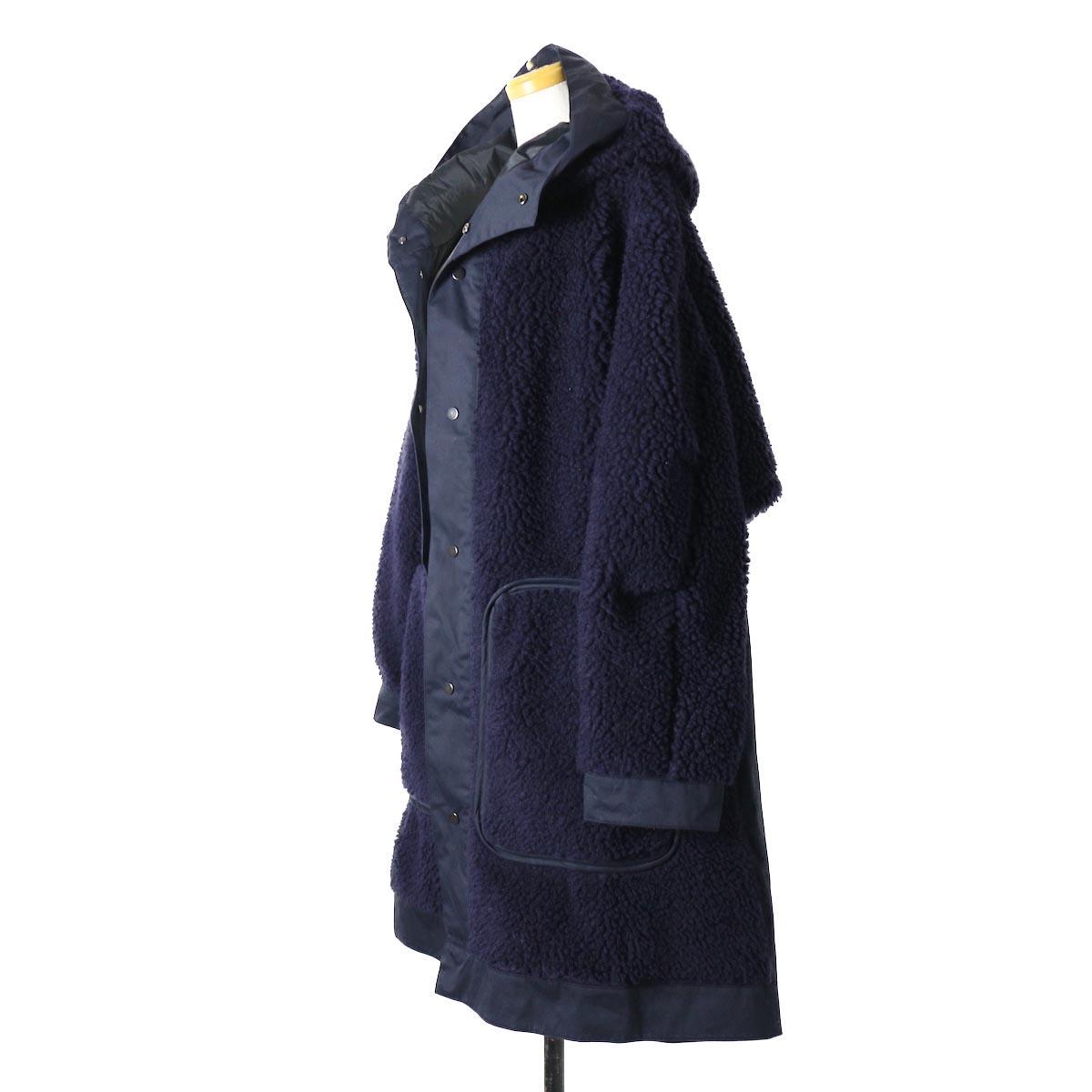 "BASISBROEK / ""Givry"" Boa Fleece Coat -Navy×Navy サイド"