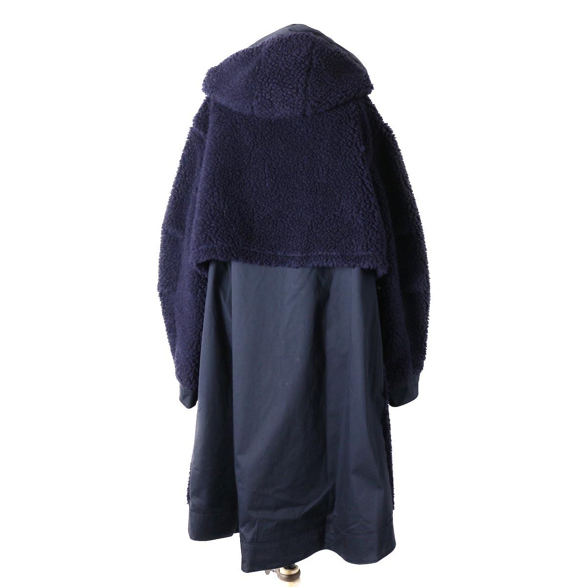 """BASISBROEK / """"Givry"""" Boa Fleece Coat -Navy×Navy 背面"""