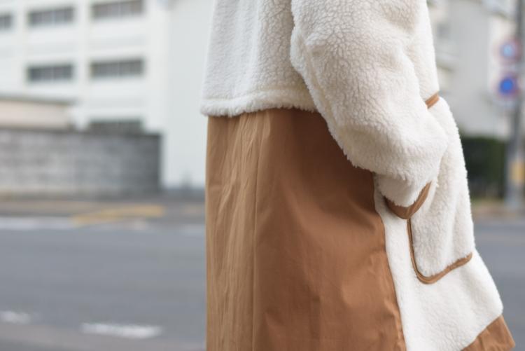 "BASISBROEK / ""Givry"" Boa Fleece Coat -Navy×Navy 着画(切り替え)"