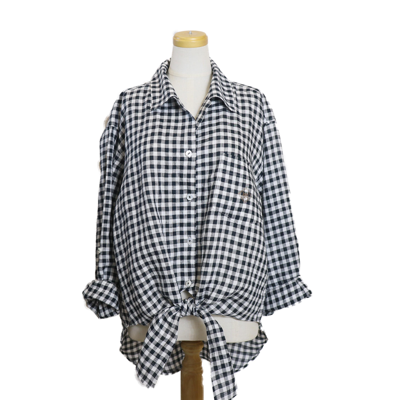 BLUEBIRD BOULEVARD / ギンガムチェックオープンカラーシャツ-BLACK
