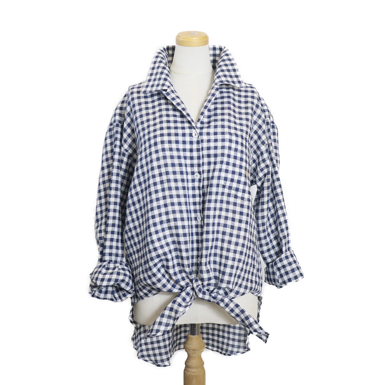 BLUEBIRD BOULEVARD / ギンガムチェックオープンカラーシャツ-NAVY