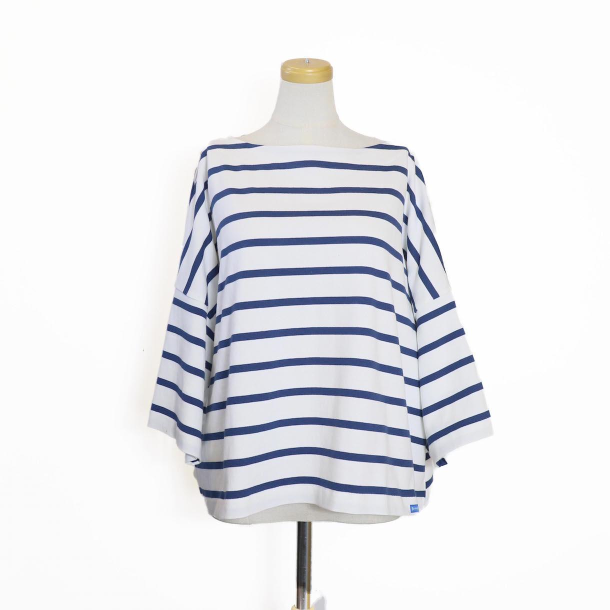 BLUEBIRD BOULEVARD / ボーダーバスクシャツ(半袖)-BLACK