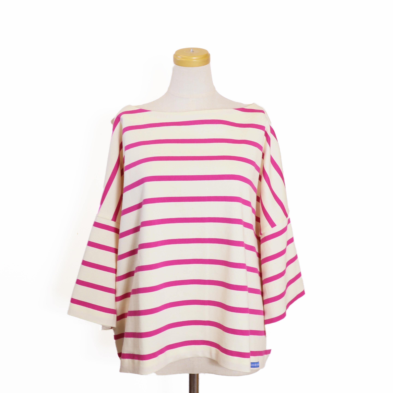 BLUEBIRD BOULEVARD / ボーダーバスクシャツ(半袖)-PINK