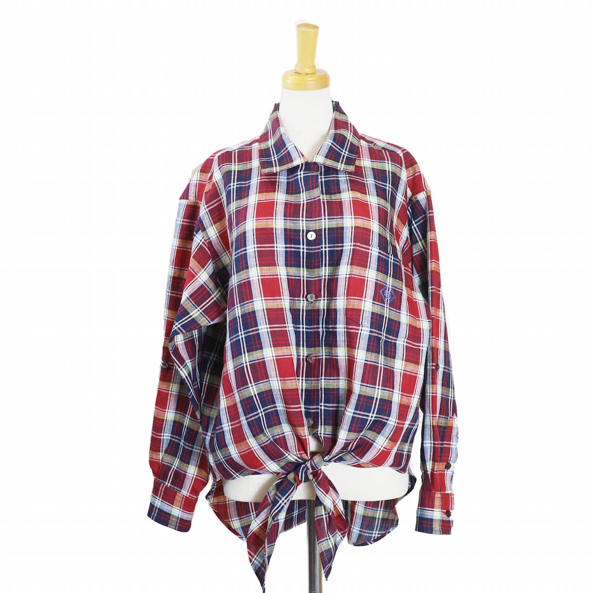BLUEBIRD BOULEVARD / マドラスチェックオープンカラーシャツ-RED