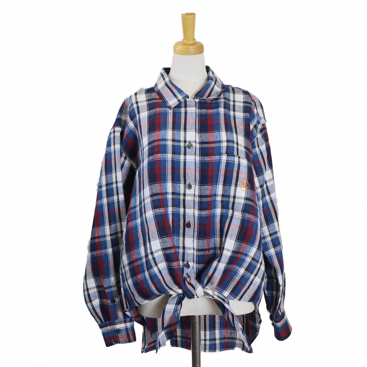 BLUEBIRD BOULEVARD / マドラスチェックオープンカラーシャツ-BLUE