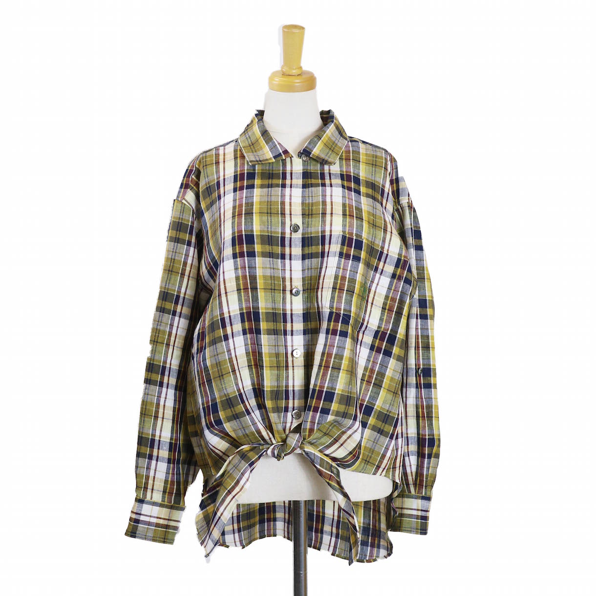 BLUEBIRD BOULEVARD / マドラスチェックオープンカラーシャツ-YELLOW