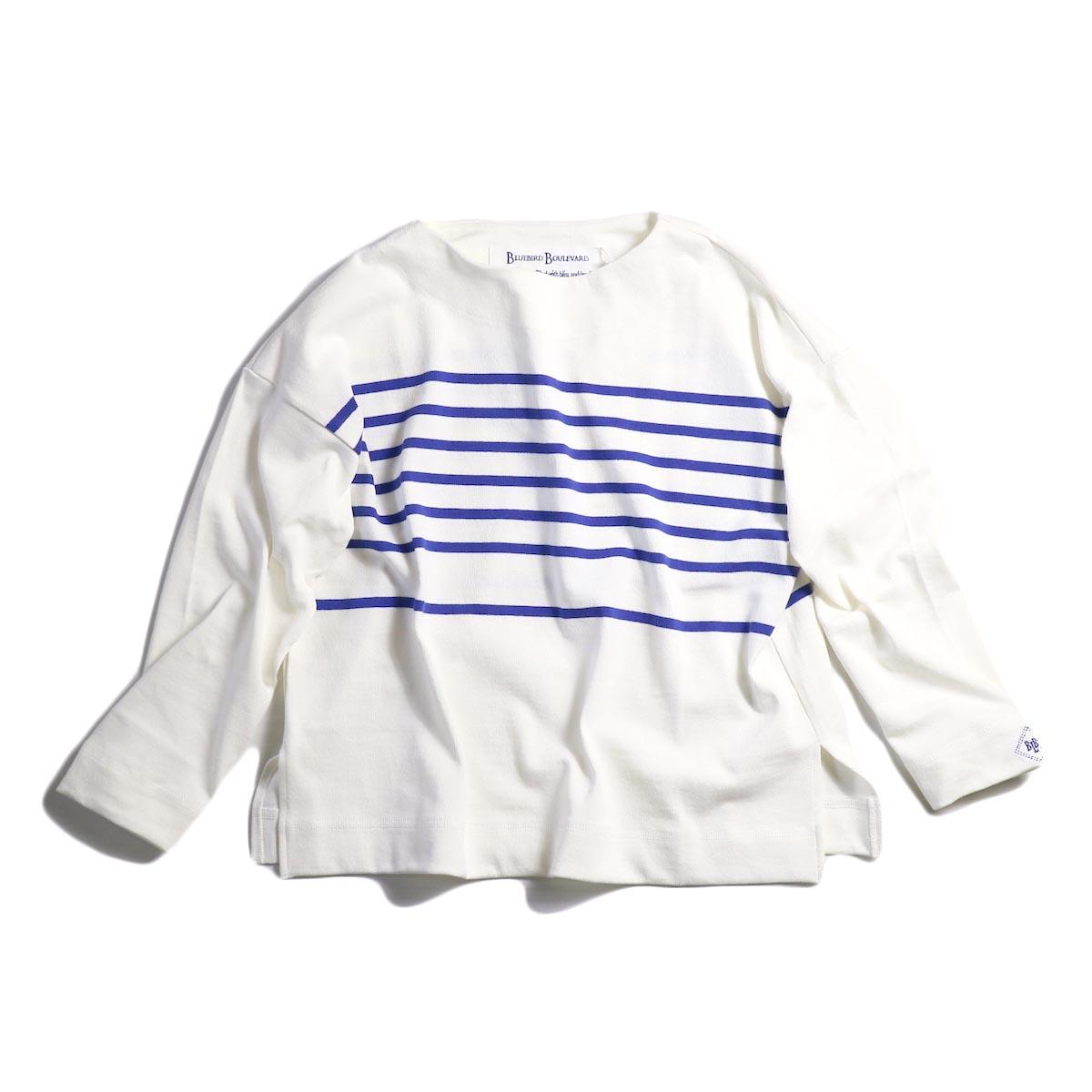 BLUEBIRD BOULEVARD / ロングスリーブボーダーバスクシャツ (タイト) WHITE / BLUE