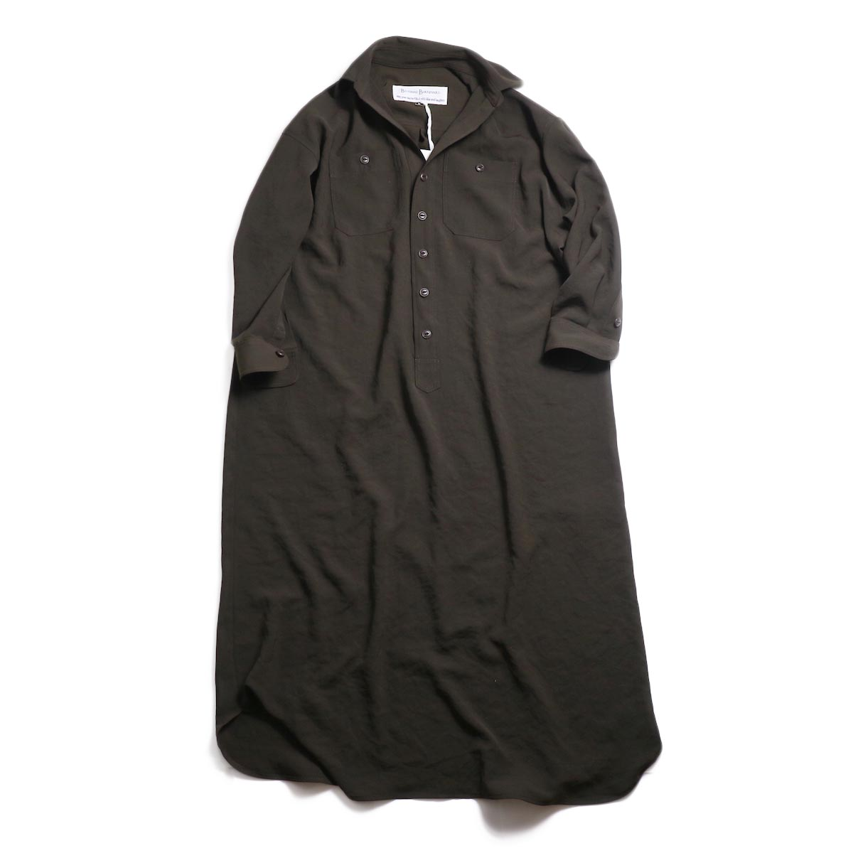 BLUEBIRD BOULEVARD / ワッシャーツイルシャツドレス -Brown 正面