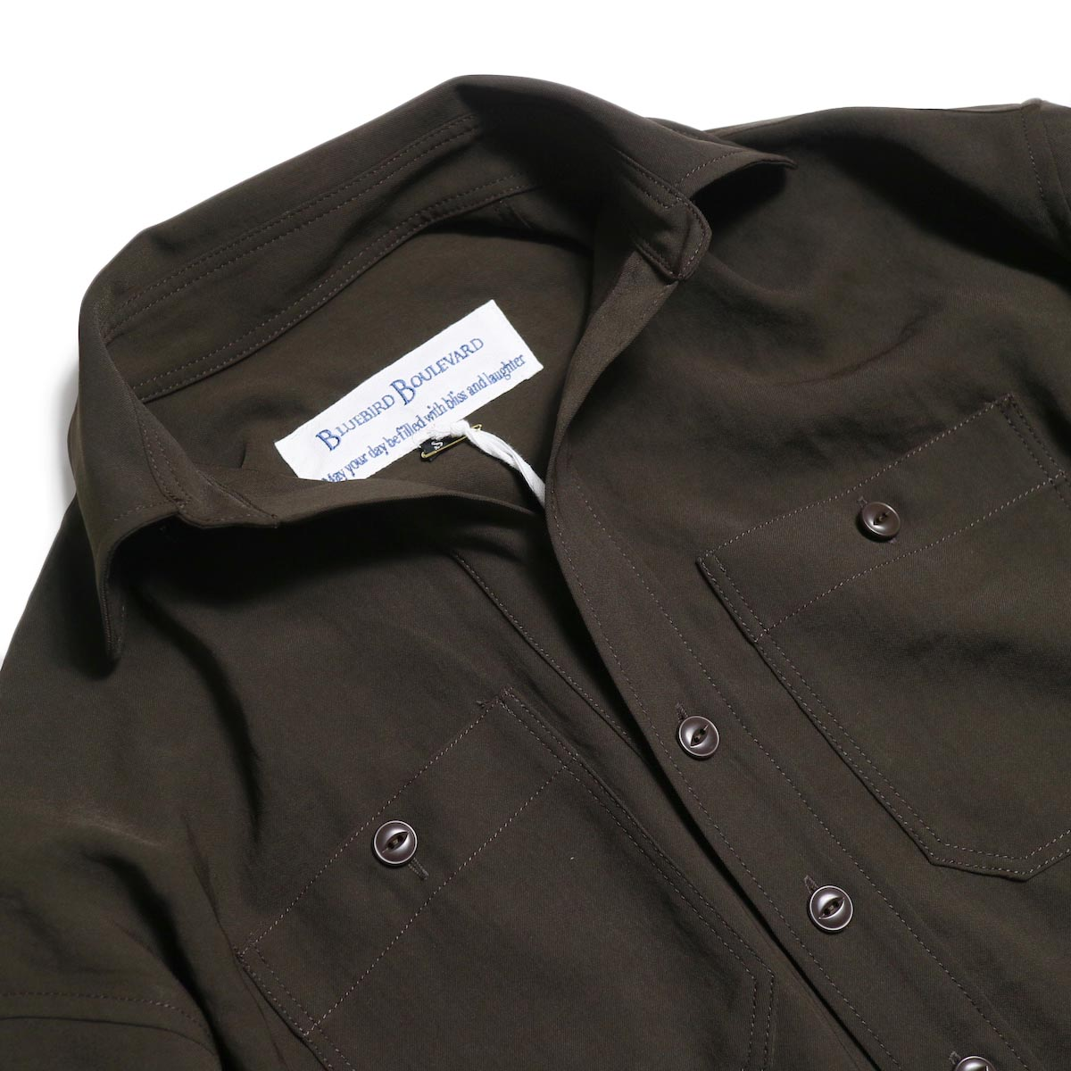 BLUEBIRD BOULEVARD / ワッシャーツイルシャツドレス -Brown 襟
