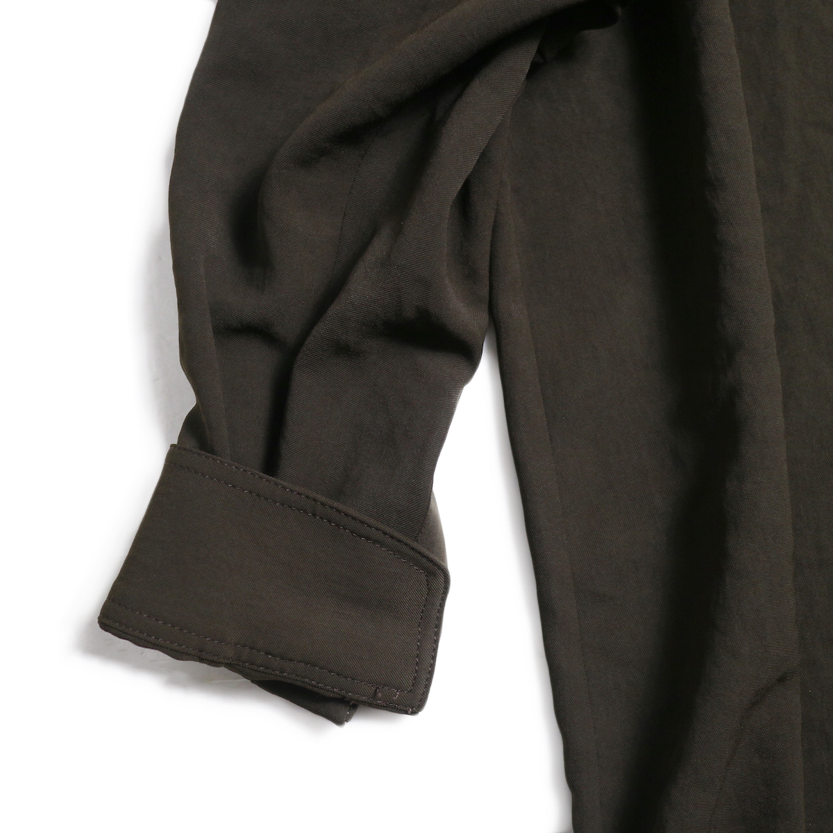 BLUEBIRD BOULEVARD / ワッシャーツイルシャツドレス -Brown 袖