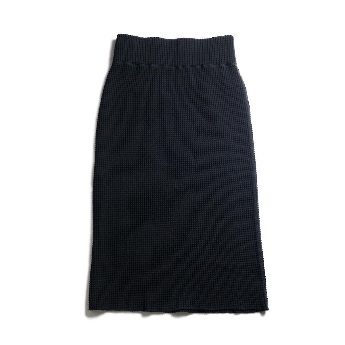 BLUEBIRD BOULEVARD / ヘヴィウェイトワッフルタイトスカート (Black)