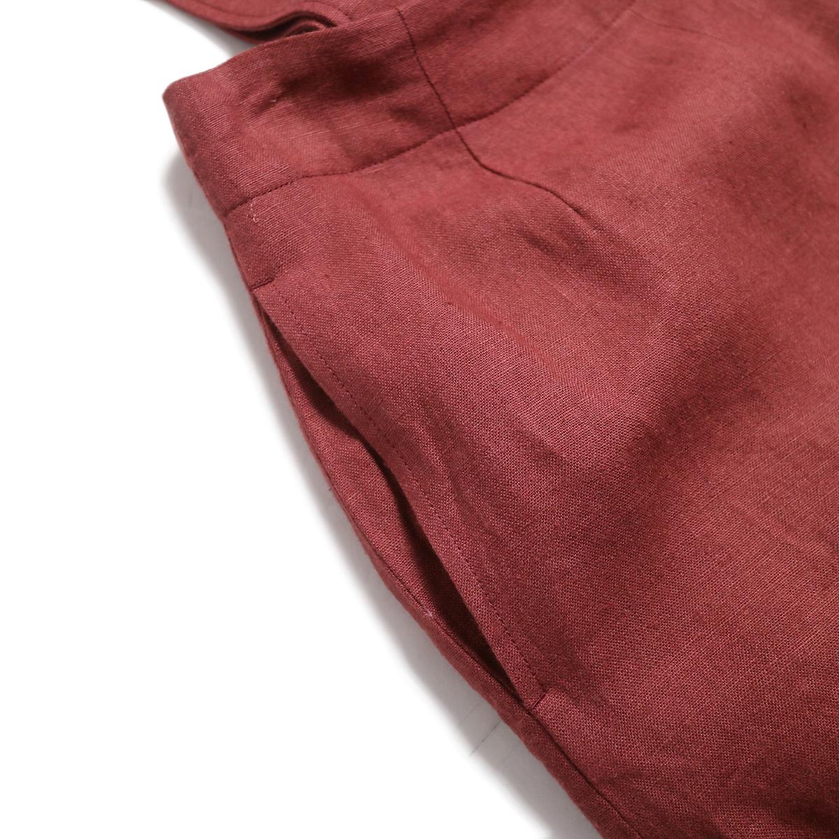 BLUEBIRD BOULEVARD / ウォッシュドリネンワイドパンツ -Burgundy ポケット
