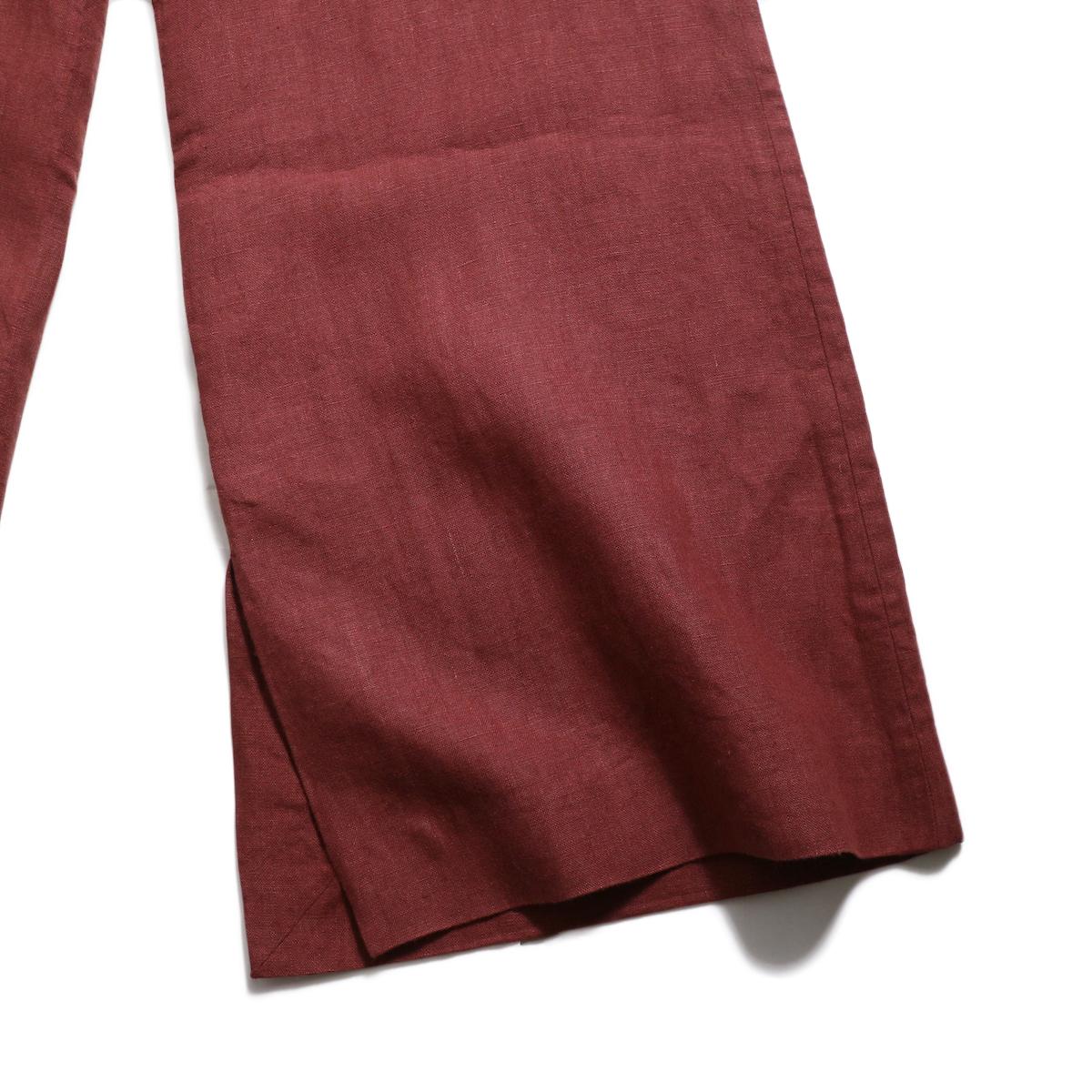 BLUEBIRD BOULEVARD / ウォッシュドリネンワイドパンツ -Burgundy 裾