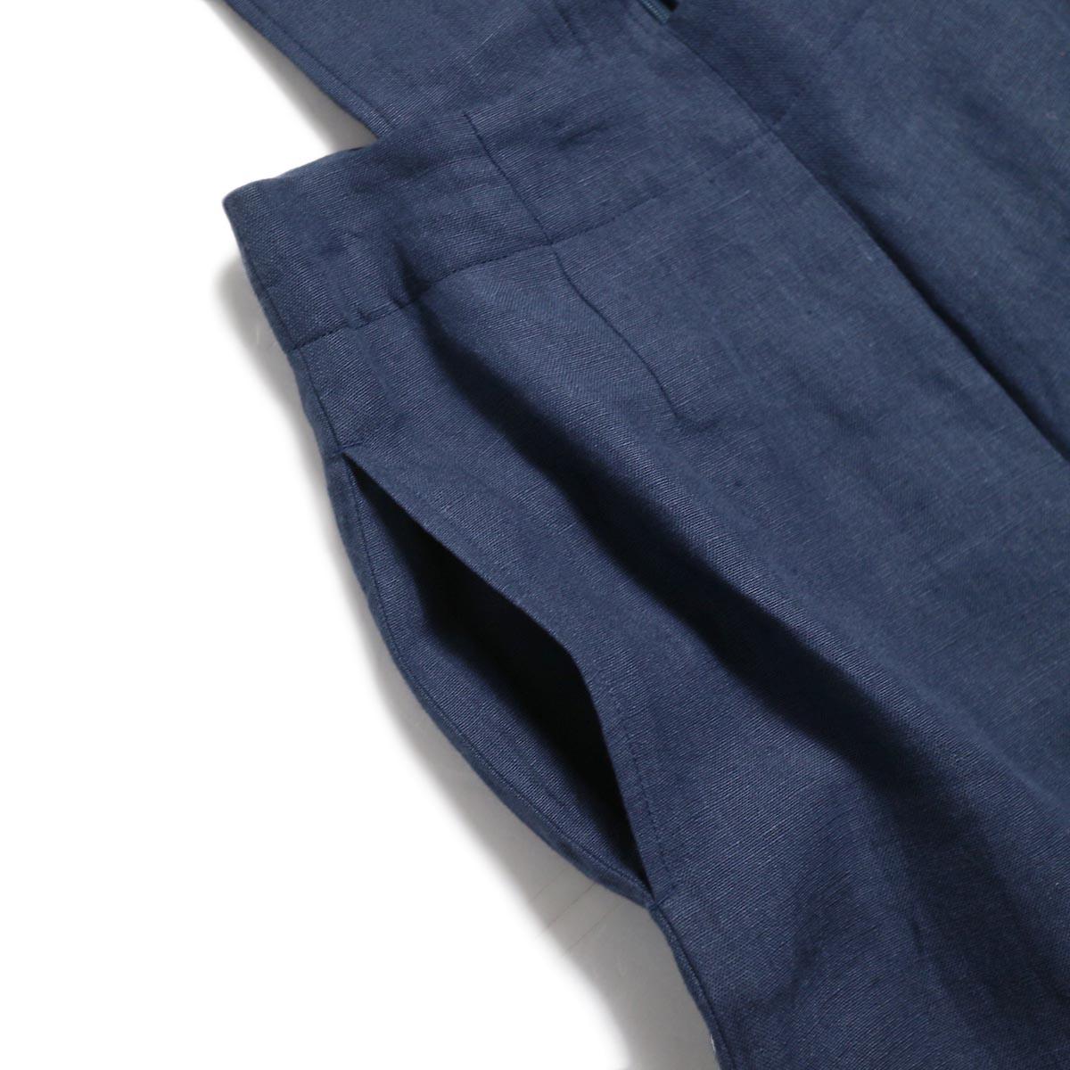 BLUEBIRD BOULEVARD / ウォッシュドリネンワイドパンツ -Navy ポケット