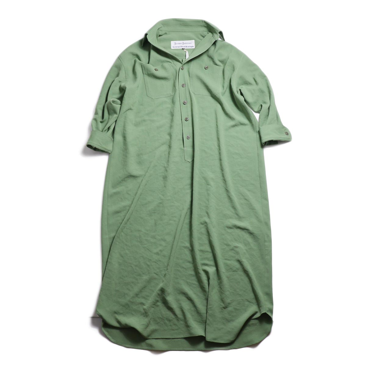 BLUEBIRD BOULEVARD / ワッシャーツイルシャツドレス -Green 正面