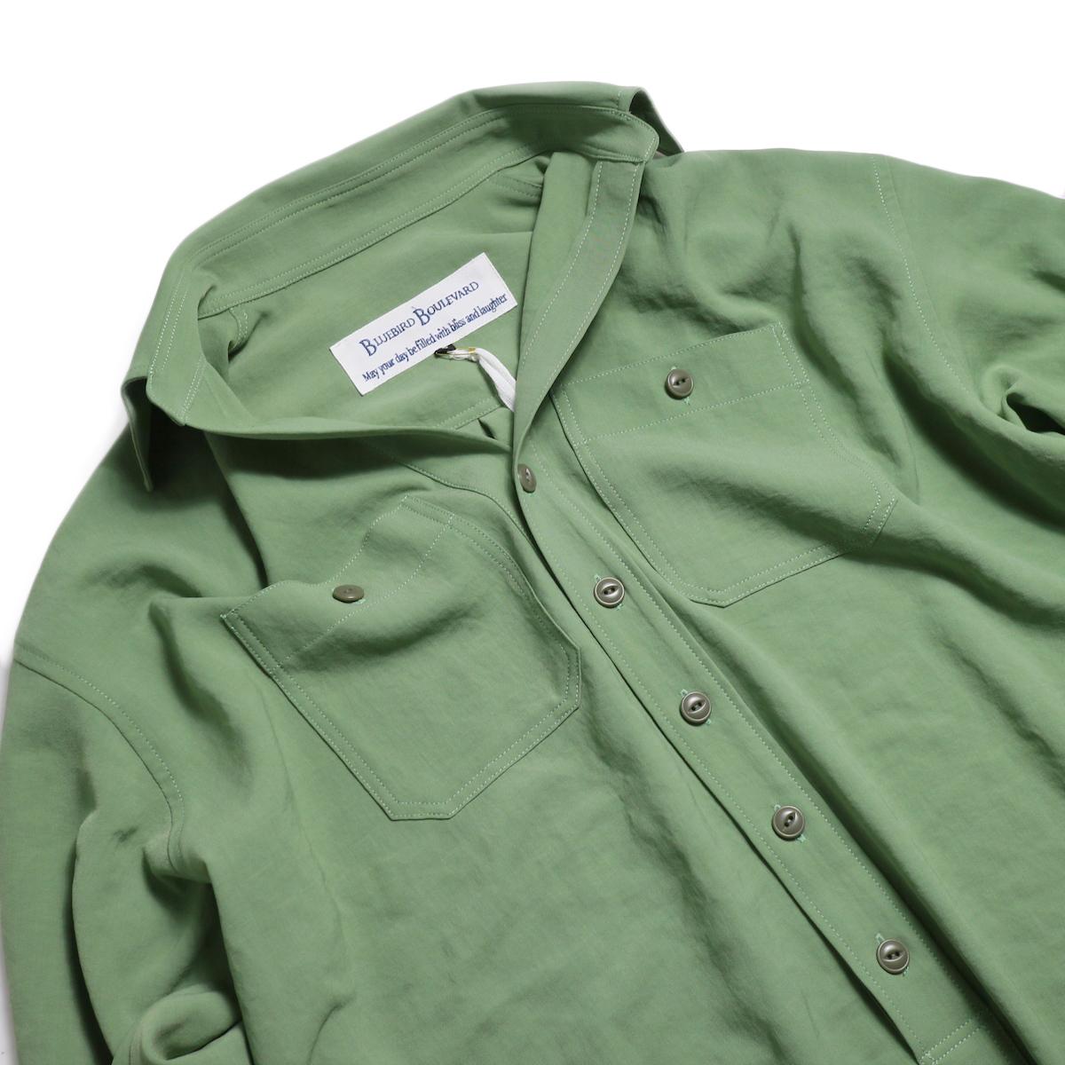 BLUEBIRD BOULEVARD / ワッシャーツイルシャツドレス -Green 襟