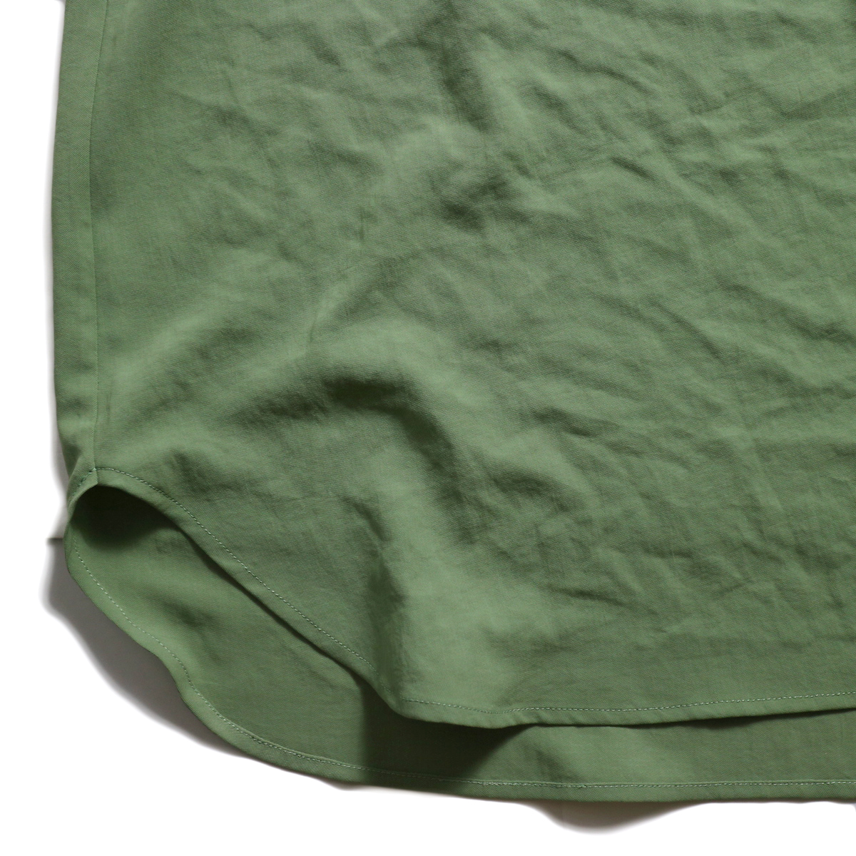 BLUEBIRD BOULEVARD / ワッシャーツイルシャツドレス -Green 裾