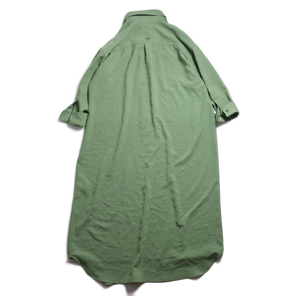 BLUEBIRD BOULEVARD / ワッシャーツイルシャツドレス -Green 背面