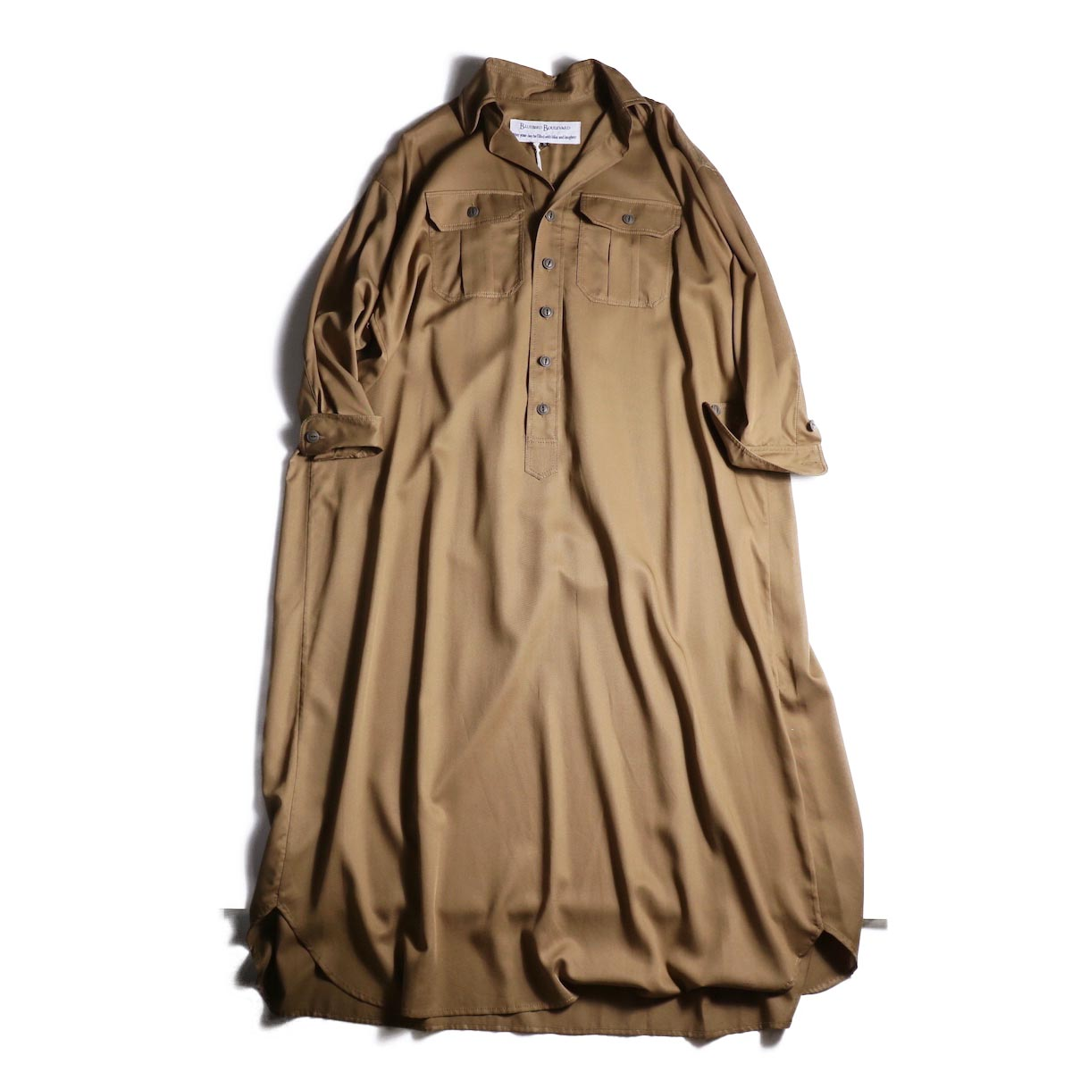 BLUEBIRD BOULEVARD / ソフトツイルシャツドレス (Camel)
