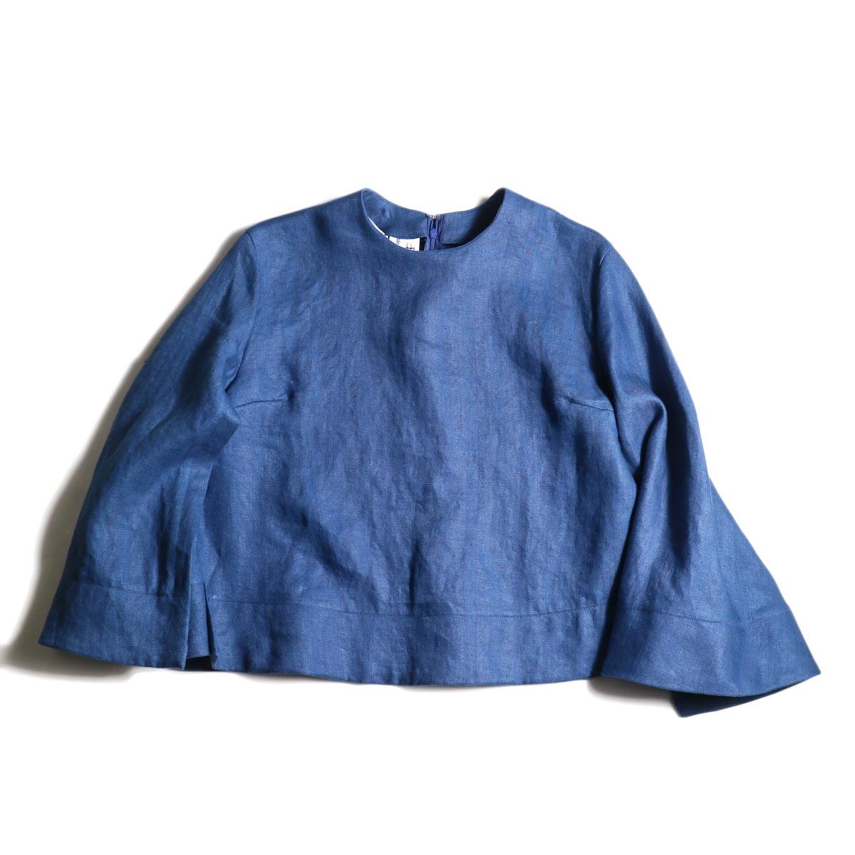 BLUEBIRD BOULEVARD / ヘリンボンリネンプルオーバー (Blue)