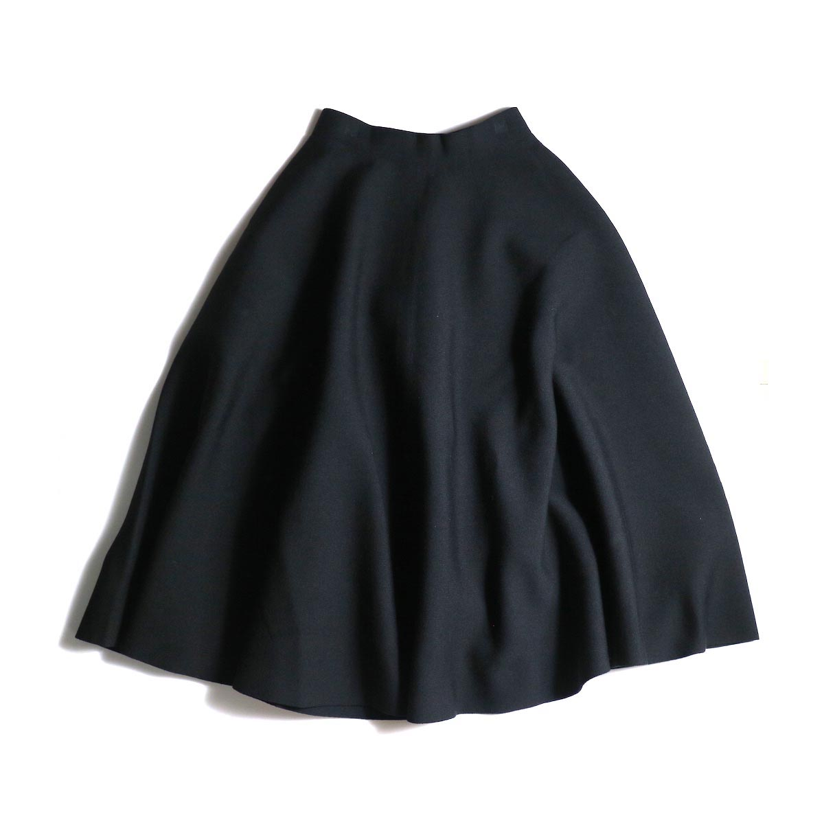 BLUEBIRD BOULEVARD / ミラノリブニットスカート (Black)正面