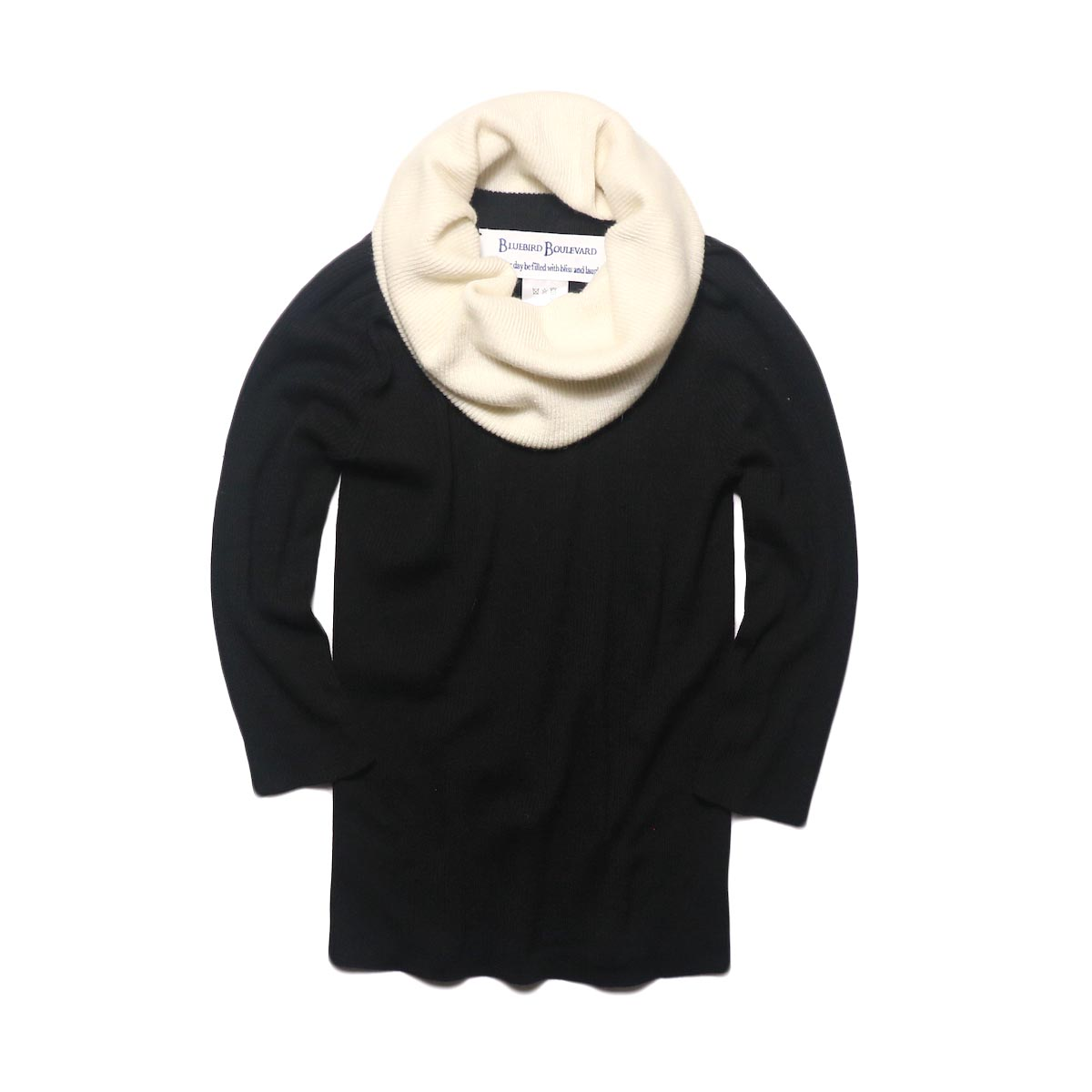 BLUEBIRD BOULEVARD Cotton & Angora Wide Turtleneck Sweater (black) 正面②