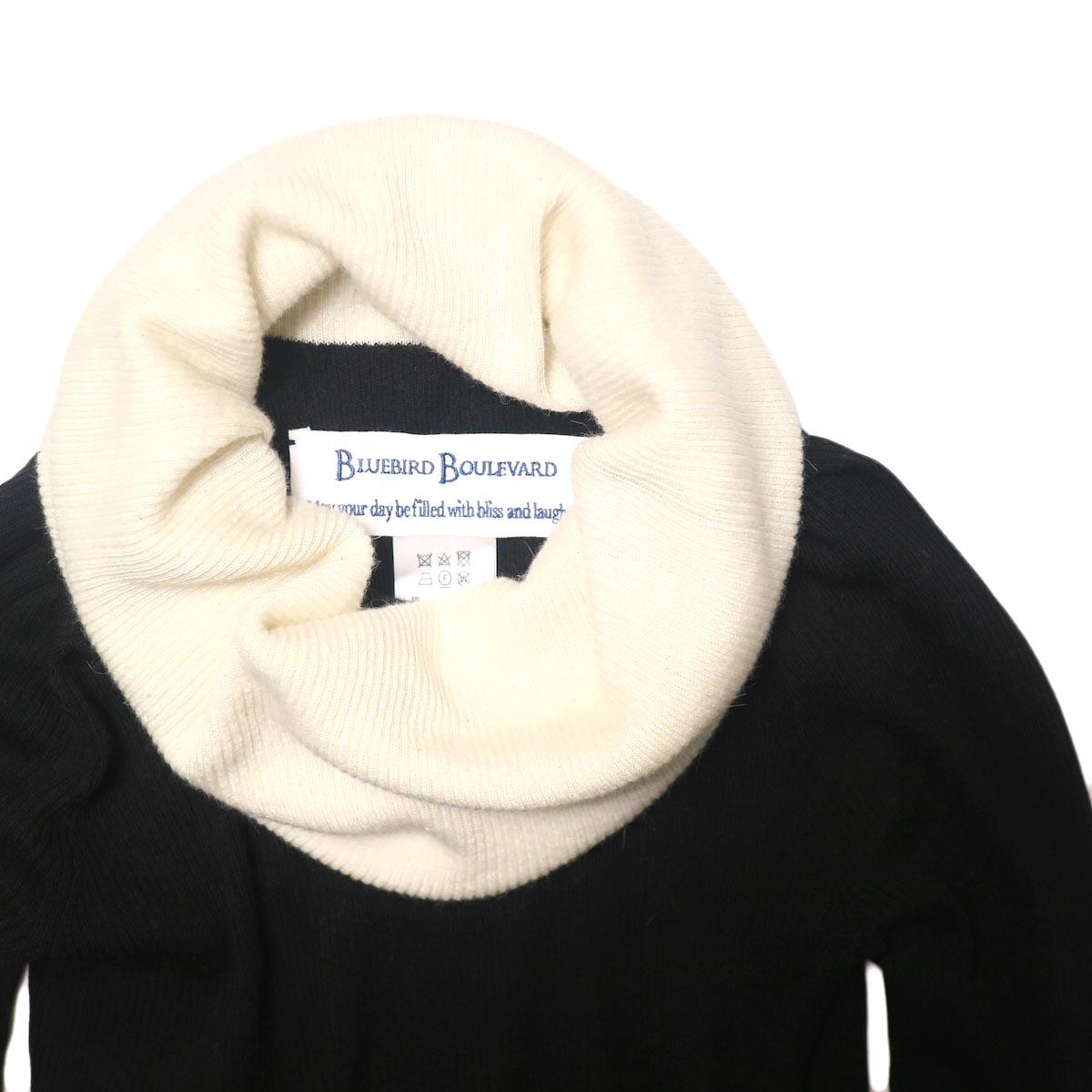 BLUEBIRD BOULEVARD Cotton & Angora Wide Turtleneck Sweater (black) ネック部分
