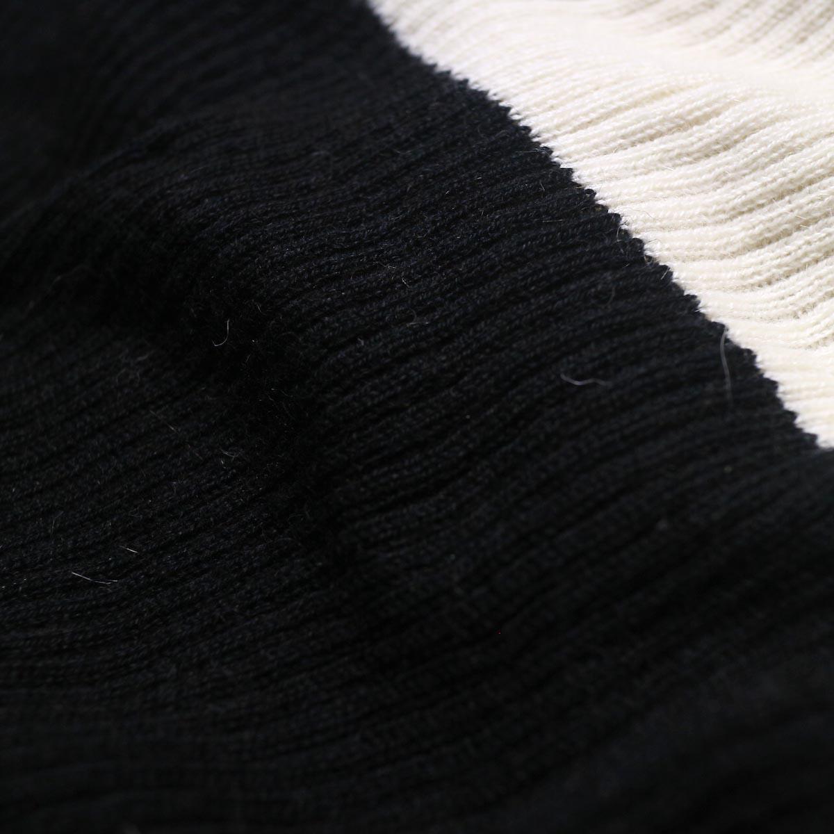 BLUEBIRD BOULEVARD Cotton & Angora Wide Turtleneck Sweater (black) 生地切替