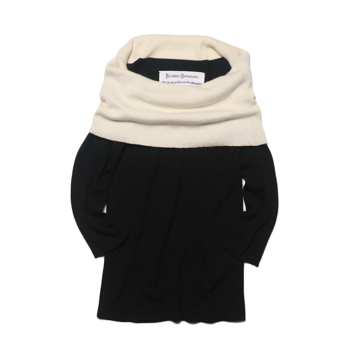 BLUEBIRD BOULEVARD Cotton & Angora Wide Turtleneck Sweater (black) 正面①