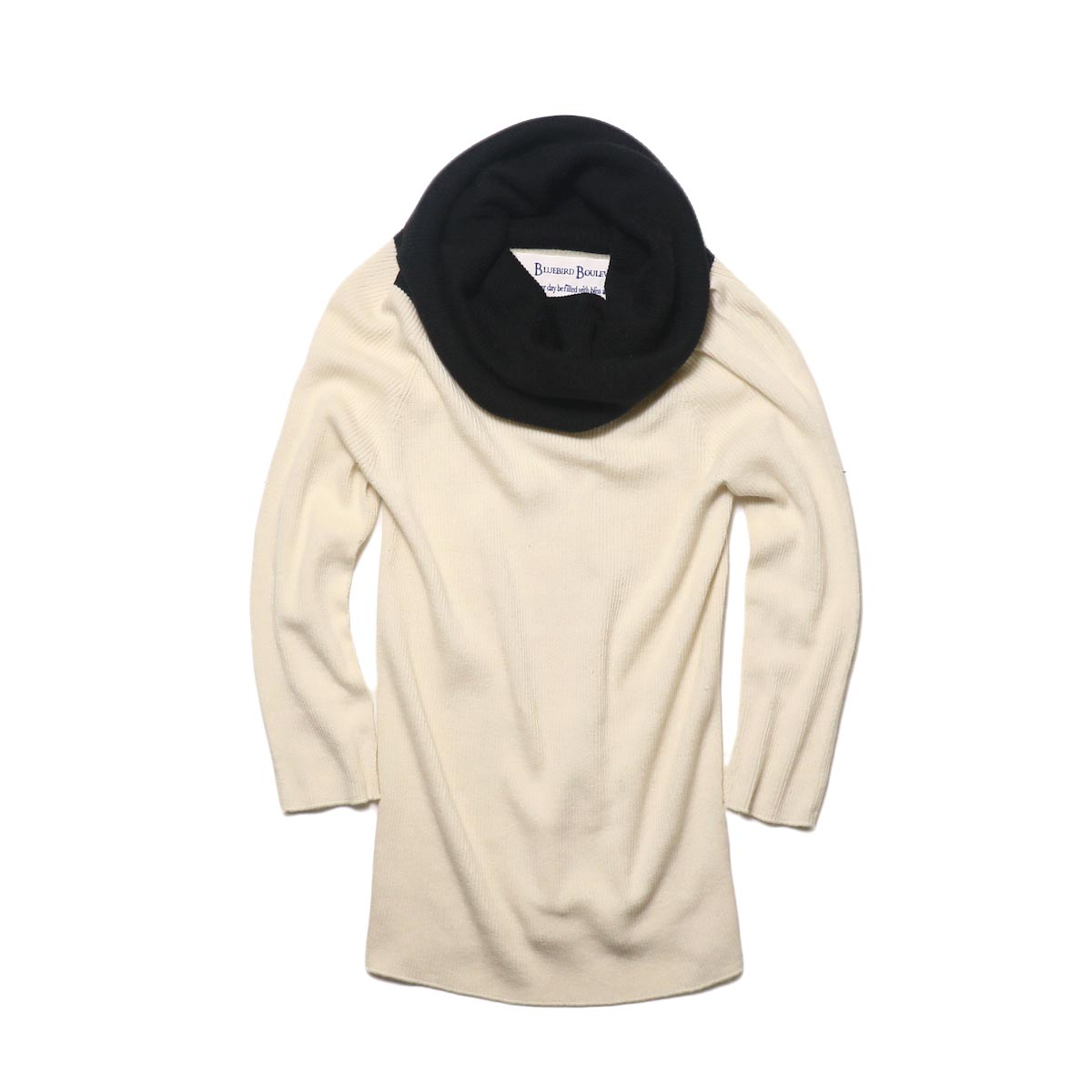 BLUEBIRD BOULEVARD Cotton & Angora Wide Turtleneck Sweater (white) 正面②
