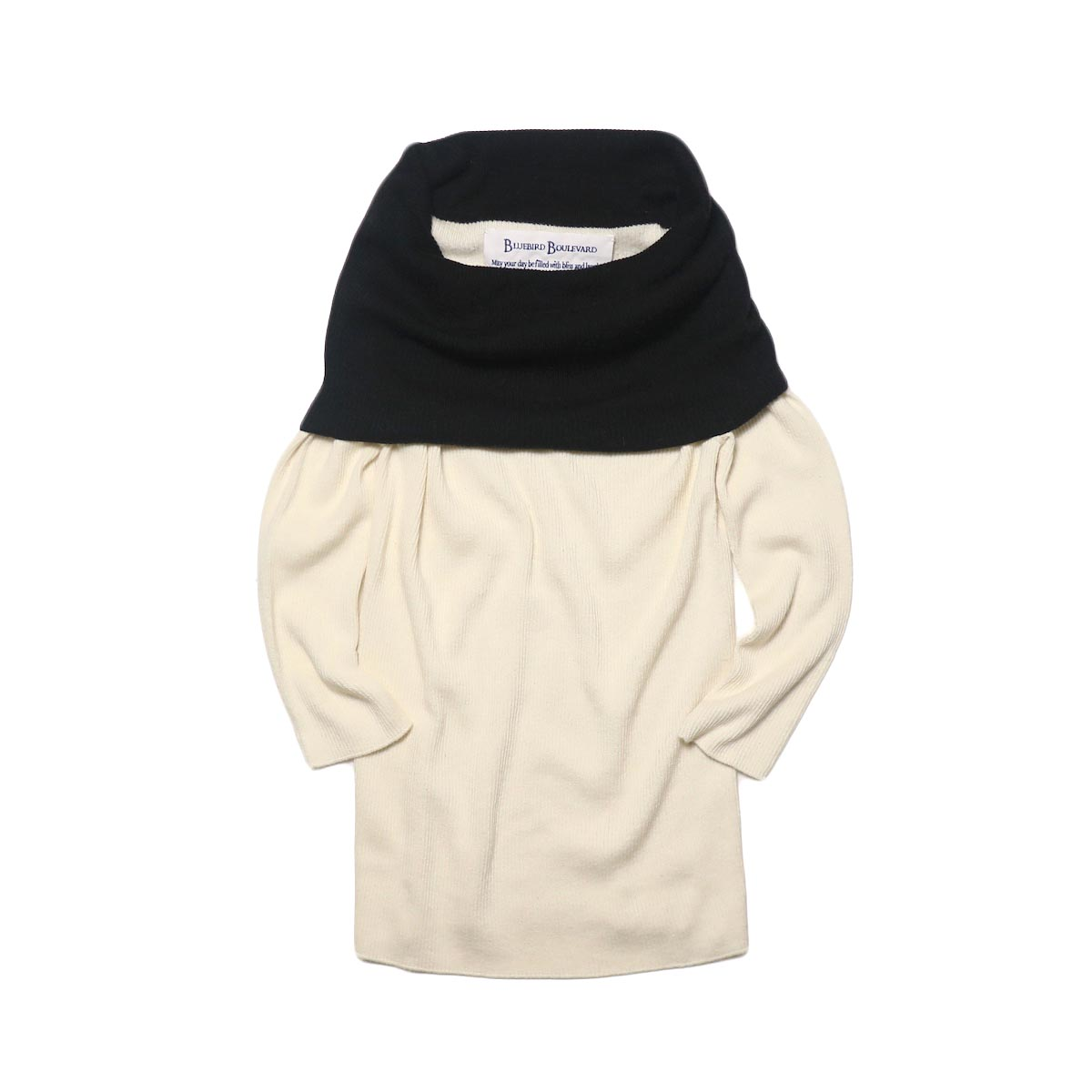 BLUEBIRD BOULEVARD Cotton & Angora Wide Turtleneck Sweater (white) 正面①